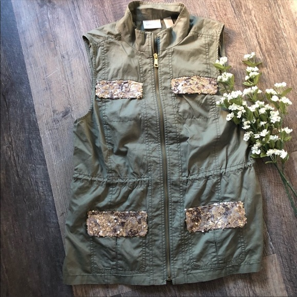 Chico's Jackets & Blazers - Chicos | Olive Utility Vest Gold Sequined Pockets